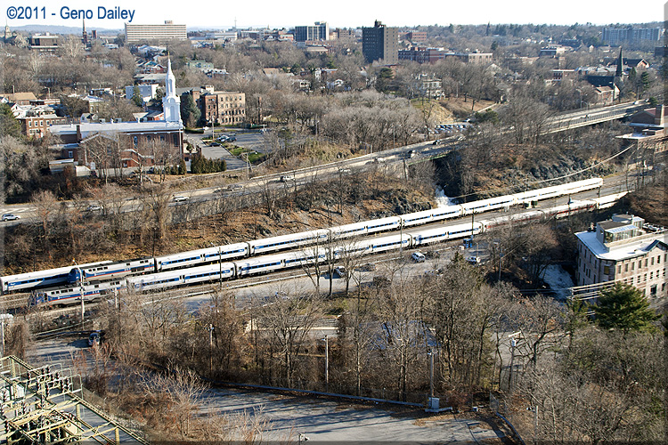 Exterior: A Couple Metro-North Commuter Trains Sitting Just North Of