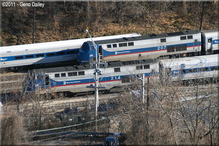 Exterior: A Zoomed Out View From The Bridge Of 2 Metro-North P32AC-DM's