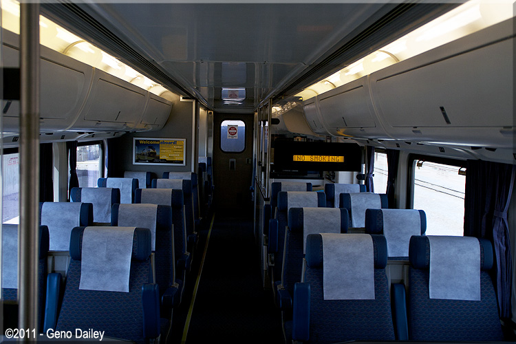 an interior view of amtrak california coach baggage 8203 nice comfortable seats. Black Bedroom Furniture Sets. Home Design Ideas
