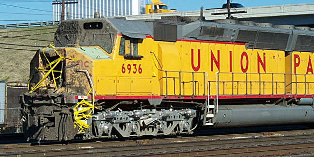 Wreck damaged UP 6936 sitting in North Little Rock, Ark, December 7, 2000