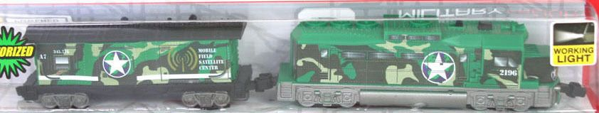 Green Military Freight Loco and Caboose
