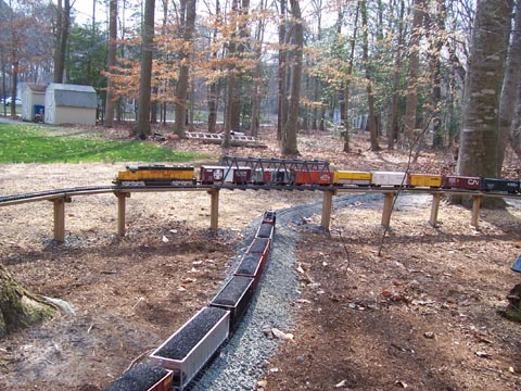 Train g scale layout, usa trains track, bachmann ez command cv