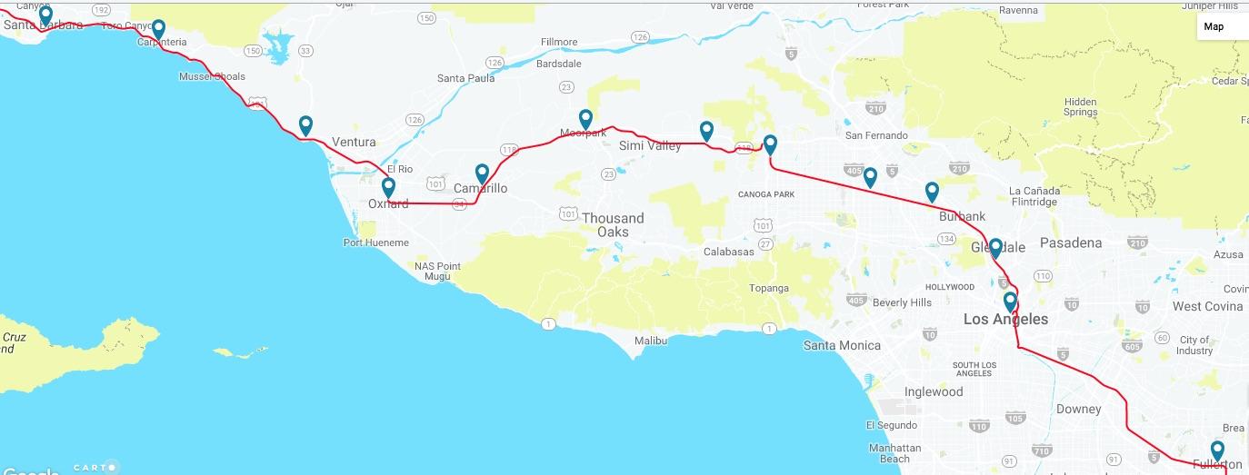 Amtrak Maine Map.Fullerton To Santa Barbara Amtrak Pacific Surfliner