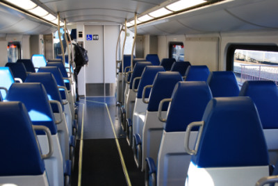 views of the lower level of the metrolink rotem cab car 638. Black Bedroom Furniture Sets. Home Design Ideas