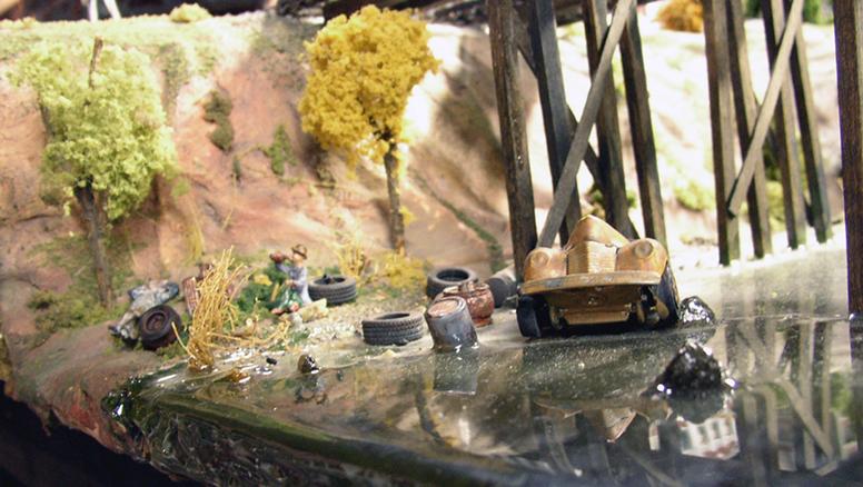 Detailed Scene Under Scratchbuilt Wooden Trestle That