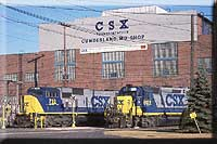 Cumberland shops is home to CSXs' SD70ACs. A SD70 and GP40-2 sit outside of the main building