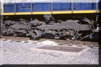 Cumberland had the honors of removing wheels from SD70s last year, here we see a BB set of trucks? YEP, this SD70 as well as all others had to sit on idler wheelsets till wheel replacement!