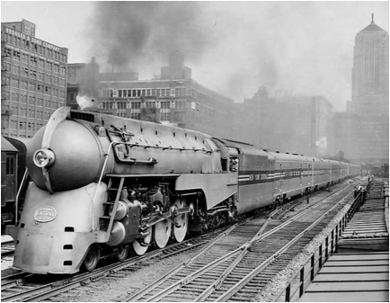 Test run of the 20 th Century Limited at LaSalle Street ... Henry Dreyfuss Train