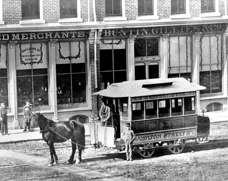 HSR 1, on King St West between MacNab & Park about 1875