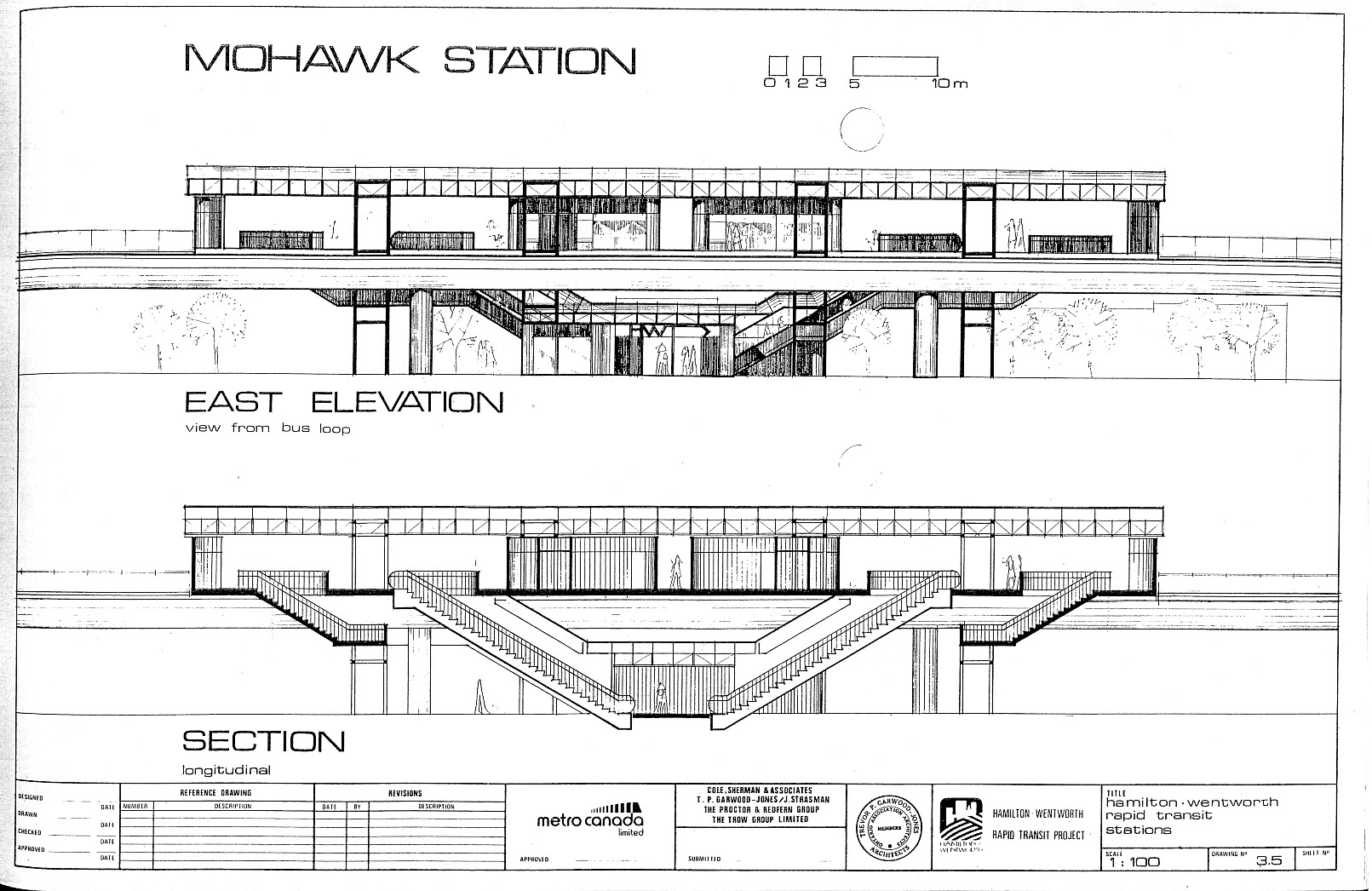 Plan Elevation Section Of Bus Stop : East elevation view of mohawk station