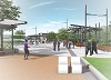 Artist's conception of West Harbour GO station plaza at ground level looking southwest