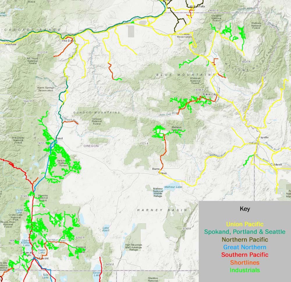 High Desert Rails - Eastern oregon map
