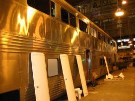 Left: A Superliner sleeper receives new bathroom modules
