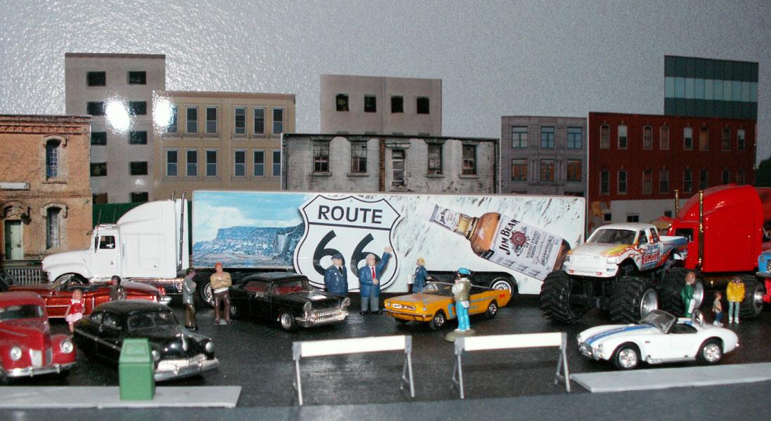 San Bernardino Mayor on TV with Route 66 cars