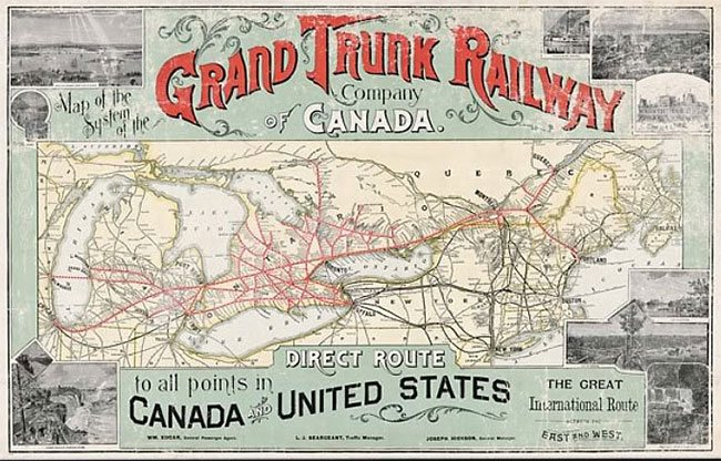 Old Time Trains - 1889 us railroad map