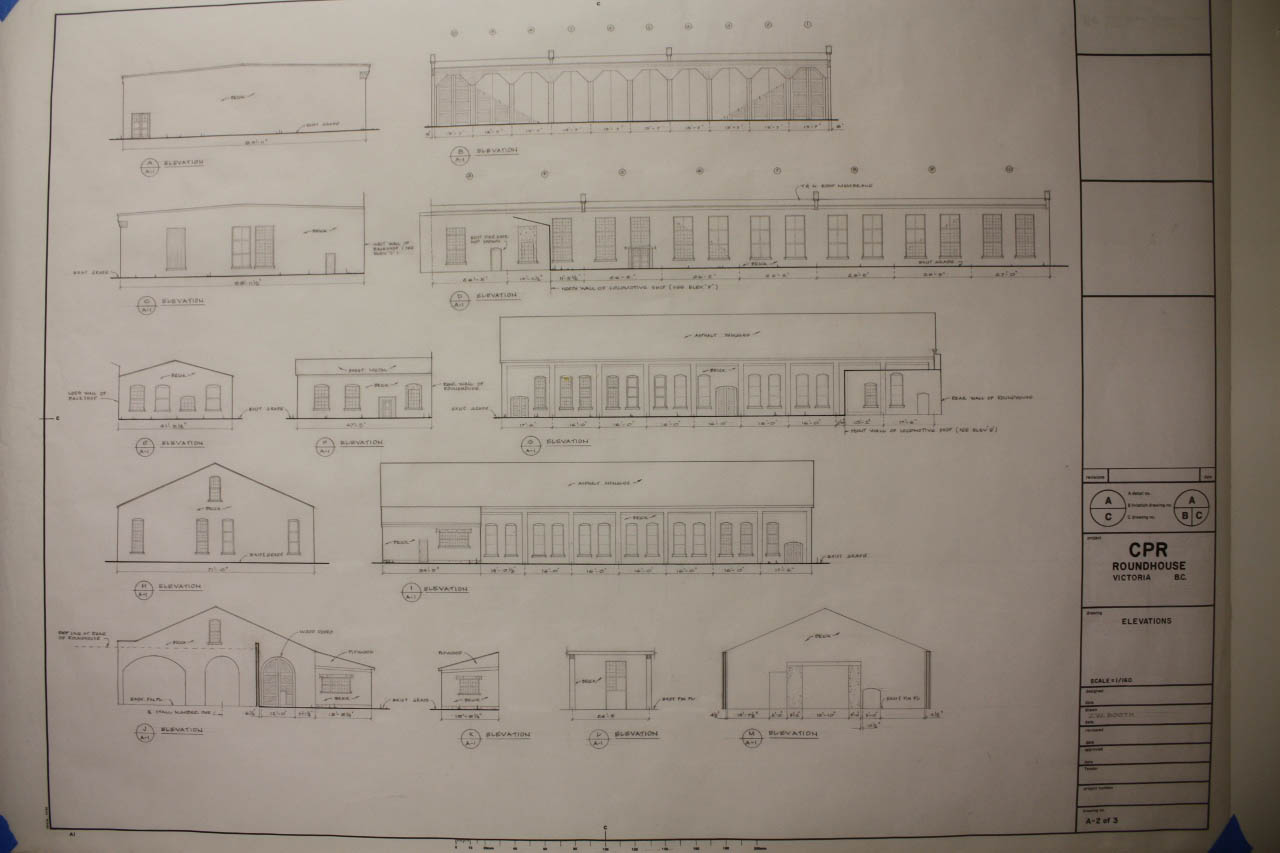 Roundhouse floor plan and elevations plan for Car turntable plans