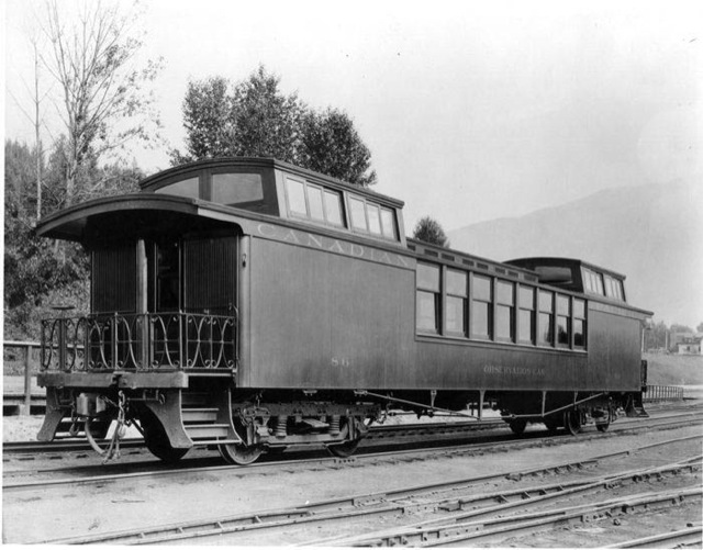 Wooden Rail Cars ~ These unique double dome open platform wooden cars were