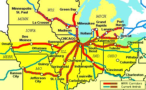 Midwest HighSpeed Rail Group Starts Lobby Push For Houses B - Midwest of usa map