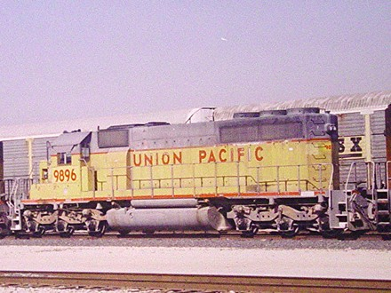 UP 9896 - ex MP GP38-2 at Southern Pacific's Kirby Yard in 2000 - Steve  Rude Photo/Jay Glenewinkel Collection