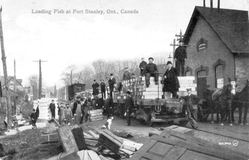 Loading Fish on the Traction in Port Stanley - B&W Photo