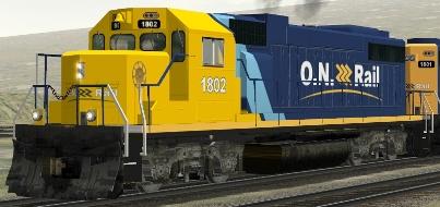 Ontario Northland GP38-2 #1802 (Train-Sim.com shown)