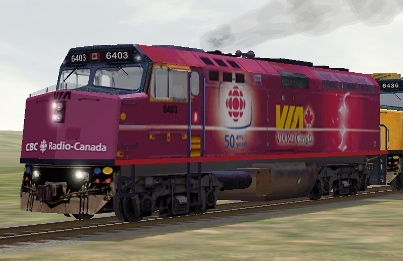 VIA Rail Canada F40PH-2 #6403 CBC Radio Canada (f40cbc.zip shown)