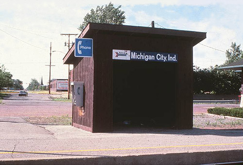 Amtrak Wooden Shelter Michigan City Indiana July 1988
