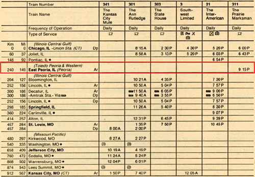 The last amtrak timetable showing east peoria station issued on april